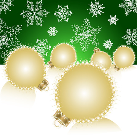 Christmas ball on Falling Snowflakes background. Vector Vector
