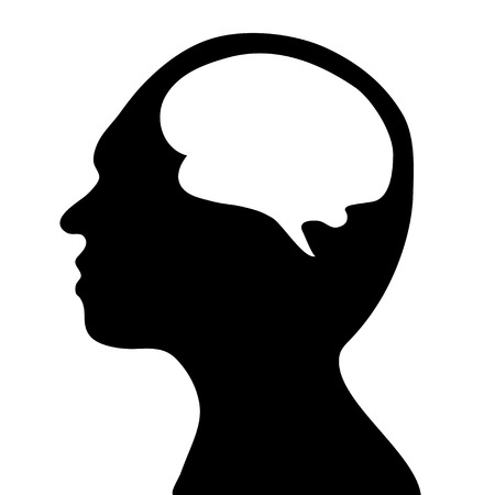 world thinking: silhouette of the head and  brain. process of human thinking. The concept of intelligence. People communication with the outside world. Vector.