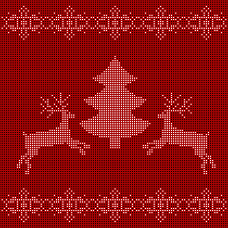 embroidered: The embroidered New Years ornament. Beaded Christmas ornament reindeer and snowflakes. vector
