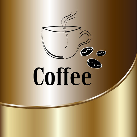 coffee beans background: coffee cup label concept menu. Vector coffee background