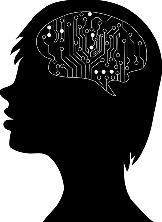 sensory receptor: Technological brains . Vector eps10.silhouette of the head and  brain. process of human thinking. The concept of intelligence. People communication with the outside world.