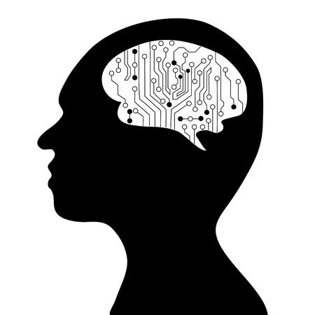 technological and communication: Technological brains . Vector.silhouette of the head and  brain. process of human thinking. The concept of intelligence. People communication with the outside world.