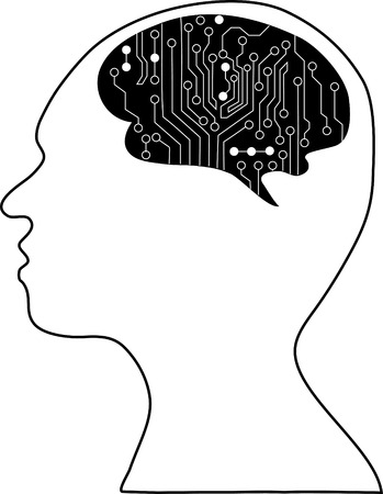 sensory receptor: Technological brains . Vector.silhouette of the head and  brain. process of human thinking. The concept of intelligence. People communication with the outside world.