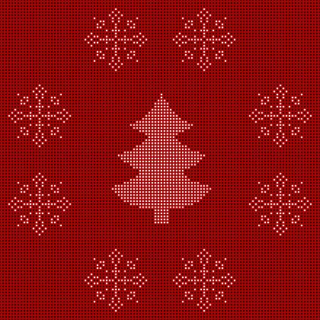 gestickt: Das gestickte Verzierung des neuen Jahres. Wulstige Weihnachtsverzierung Weihnachtsbaum und Schneeflocken. Vektor
