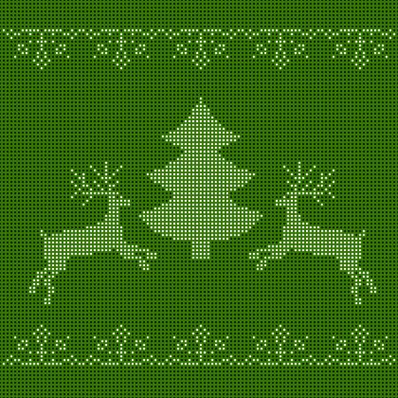 gestickt: Das gestickte Verzierung des neuen Jahres. Perlen Weihnachtsschmuck Rentiere und Schneeflocken. Vektor