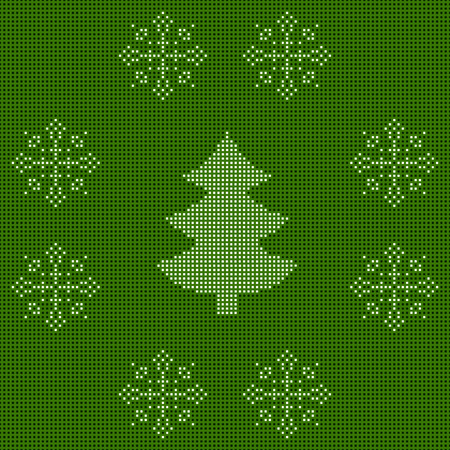 The embroidered New Year's ornament. Beaded Christmas ornament christmas tree and snowflakes. vector