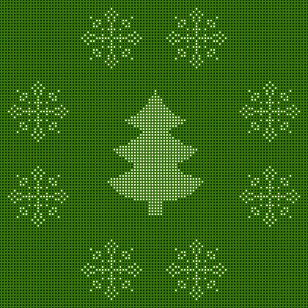 刺繍のお正月飾り。ビーズ クリスマス飾りクリスマス ツリーと雪の結晶。ベクトル  イラスト・ベクター素材