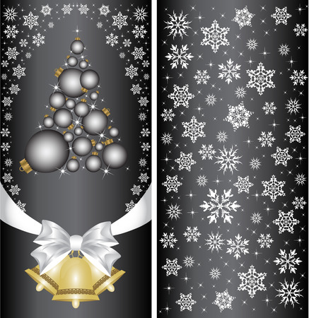 Christmas card with a Christmas tree with a bow, a ribbon and a Christmas bell. vector Vector