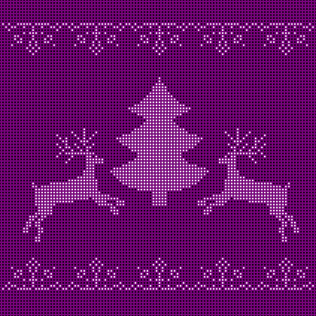 刺繍のお正月飾り。ビーズのクリスマス飾りトナカイと雪の結晶。ベクトル