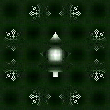 The embroidered New Year's ornament. Beaded Christmas ornament reindeer and snowflakes. vector