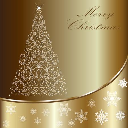 Christmas card with a Christmas tree . vector Illustration