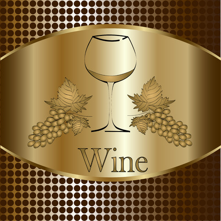 cocktail bar: wine glass concept menu design. Wine glass with grapes. Vector Illustration