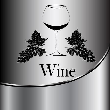 wine glass concept menu design. Wine glass with grapes. Vector Illustration