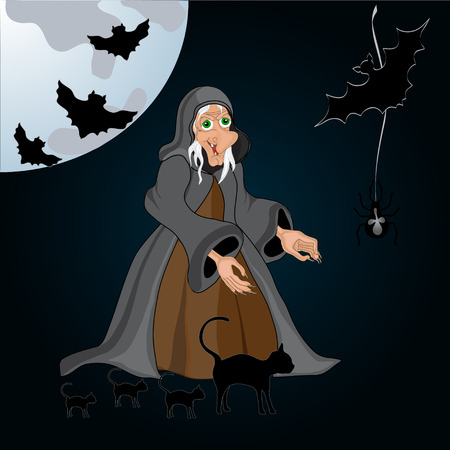 necropolis: Halloween night background with creepy castle, witch and pumpkins. Vector illustration