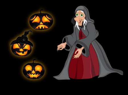 sweeper: Halloween night background with  witch and pumpkins. Halloween banner .Vector illustration Illustration