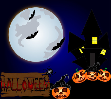 necropolis: Halloween night background with creepy castle and pumpkins. Vector illustration Illustration