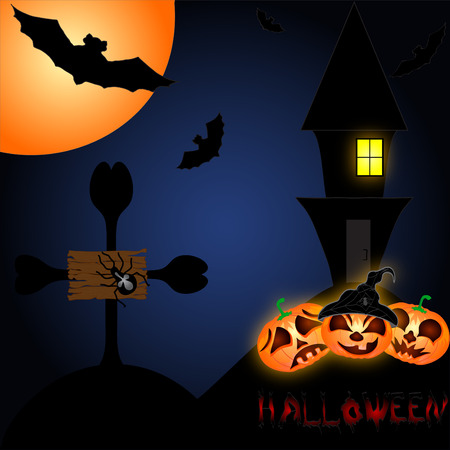 all saints day: Halloween night background with creepy castle and pumpkins. Vector illustration Illustration