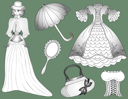 vintage fashion: Vintage fashion set Woman in dress with umbrella and handbag. Vector Illustration