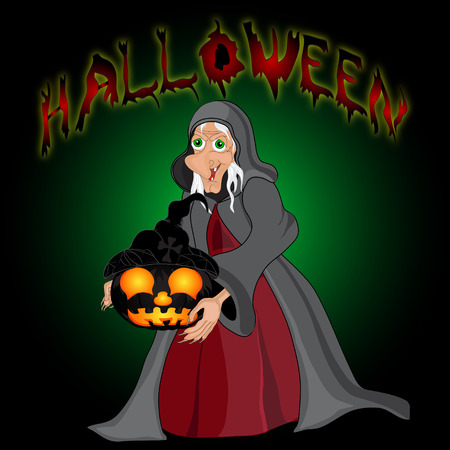 all saints day: Halloween night background with  witch and pumpkins. Halloween banner .Vector illustration Illustration