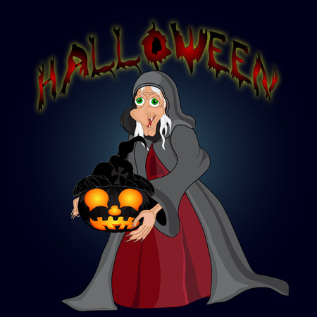 night background: Halloween night background with  witch and pumpkins. Halloween banner .Vector illustration Illustration