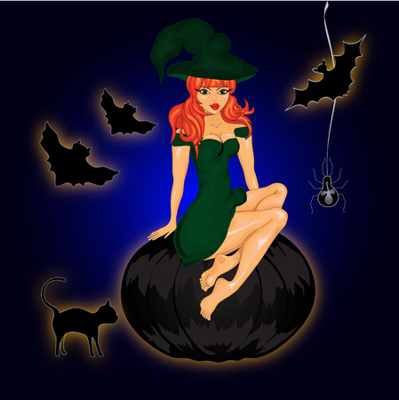 halloween black cat: Halloween night background with  witch and pumpkins. Vector illustration
