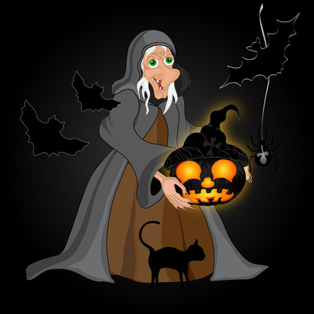 Halloween night background with  witch and pumpkins. Halloween banner .Vector illustration Illustration