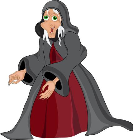 alte frau: Halloween Banner .Witch alte Frau. Illustration