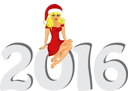 'snow maiden': Greeting cards Vector illustration the idea for the Christmas banner. Happy New Year 2016  with a  Snow Maiden