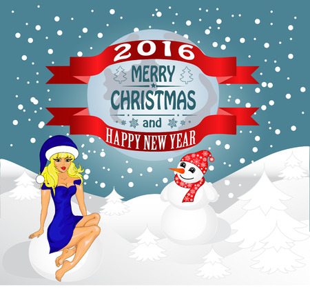 snow maiden: Merry Christmas greeting card Landscape with Snow Maiden and snowman. Vector
