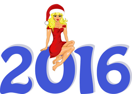 snow maiden: Greeting cards Vector illustration the idea for the Christmas banner. Happy New Year 2016  with a  Snow Maiden