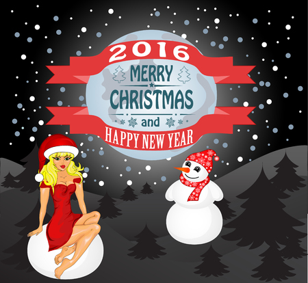 maiden: Merry Christmas greeting card Landscape with Snow Maiden and snowman. Vector