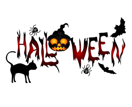 Halloween banner .Beautiful inscription Halloween with a cat, pumpkin and flying mice. Vector