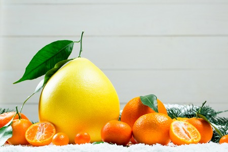 Fresh mandarins, oranges, pomelo, kumquat, kinkan with leaves on white snow. Ripe citrus fruits background. Symbol of the New Year and Christmas Stock Photo