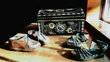 Copper-studded shoes, photo with drawing effect
