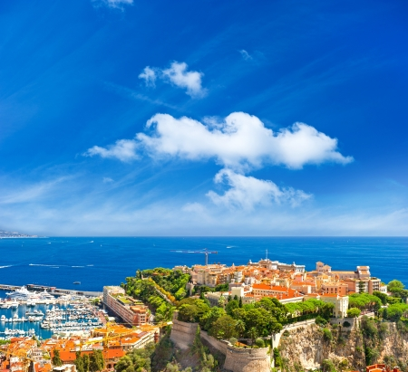 panoramic view of Monaco with palace and harbor  Cote d photo