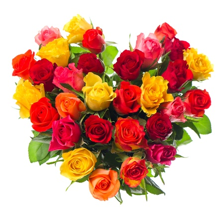 bouquet of colorful assorted roses in heart shape on white background photo