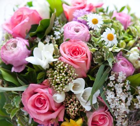 colorful spring flowers bouquet. pink roses Banco de Imagens