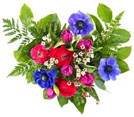 arreglo floral: Ramo de flores de colores. fresch tulipanes y rosas Foto de archivo