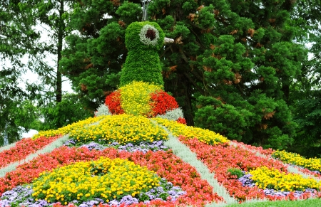 flower garden. Peacock Flowerbed. Island Mainau, Bodensee Germany photo