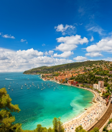 villefranche sur mer: view of luxury resort and bay of Cote dAzur in France. Villefranche, french riviera