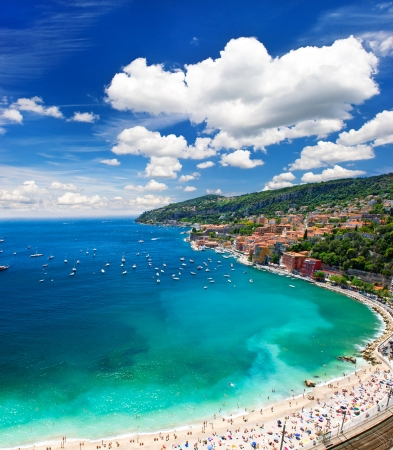 villefranche sur mer: view of luxury resort and bay of Cote dAzur. french riviera