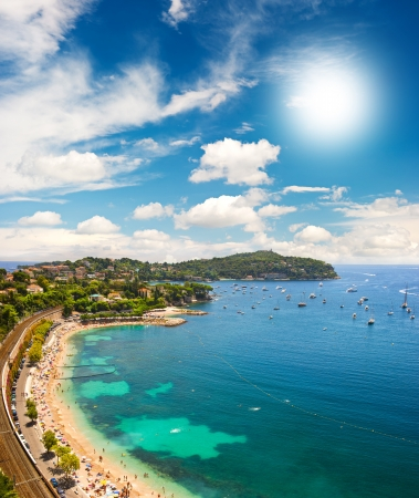 villefranche sur mer: view of luxury resort and bay of Cote dAzur Stock Photo
