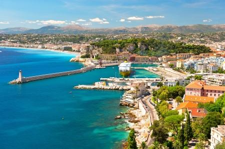 フランス、コートダジュール、ニース、地中海リゾート ビュー 写真素材