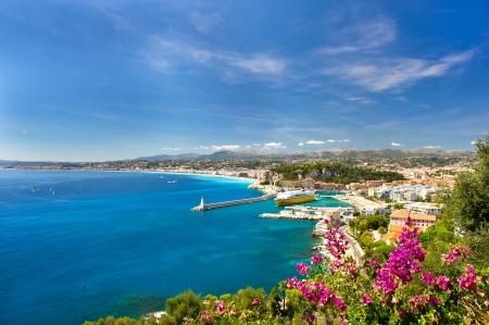 panoramic view of mediterranean resort, Nice, Cote dAzur, France. photo
