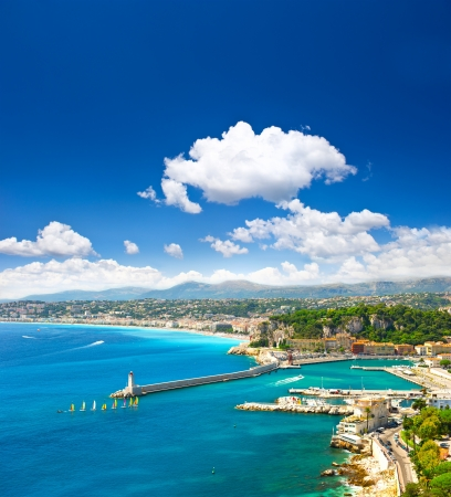 french riviera: View of mediterranean resort, Nice, Cote dAzur, France. turquoise sea and perfect sunny blue sky. Stock Photo
