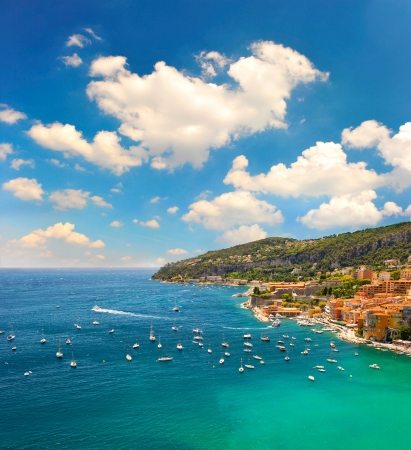 dazur: view of luxury resort and bay of Cote dAzur. Villefranche by Nice, french riviera