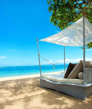 luxury relax chair on a beautiful tropical beach. blue sky and green plants photo