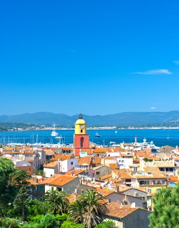 Beautiful view of Saint-Tropez with seascape and blue sky. France, french riviera photo