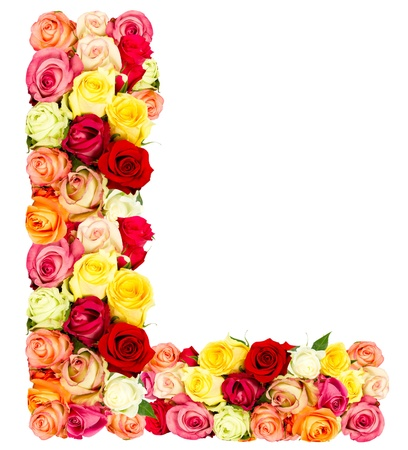 english letters: L, roses flower alphabet isolated on white Stock Photo
