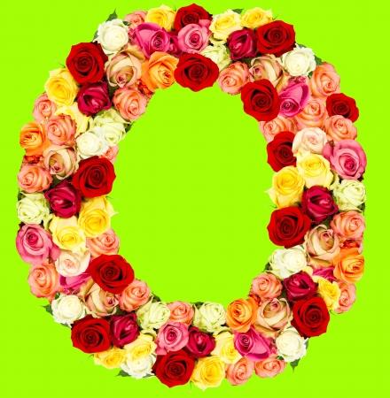 O, roses flower alphabet on green photo